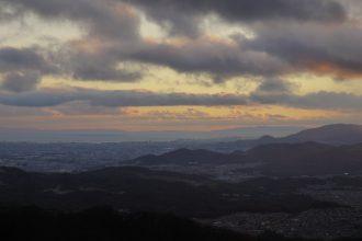 神戸に落ちる夕日