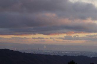 大阪に落ちる夕日